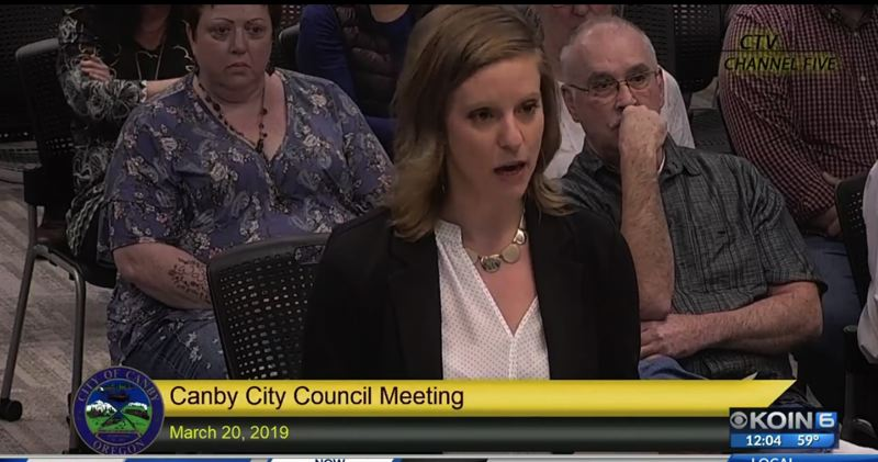 VIA KOIN - Stefani Carlson spoke at a Canby City Council meeting in March, 2019.