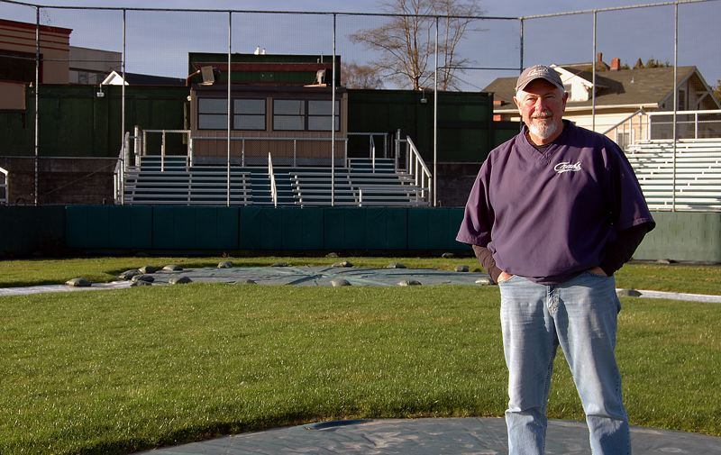 COURTESY PHOTO: LESLIE AMES - Former St. Helens baseball and football star Ken 'Shorty' Ames stands astride the mound at the home field of the Humboldt Crabs, a team he coached for a decade ending in 2005.