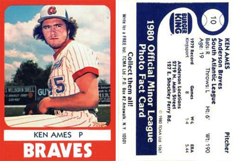 SCREENSHOT - St. Helens graduate Shorty Ames is shown on his rookie league baseball card as a member of the Kingsport Braves in Tennessee in 1980.