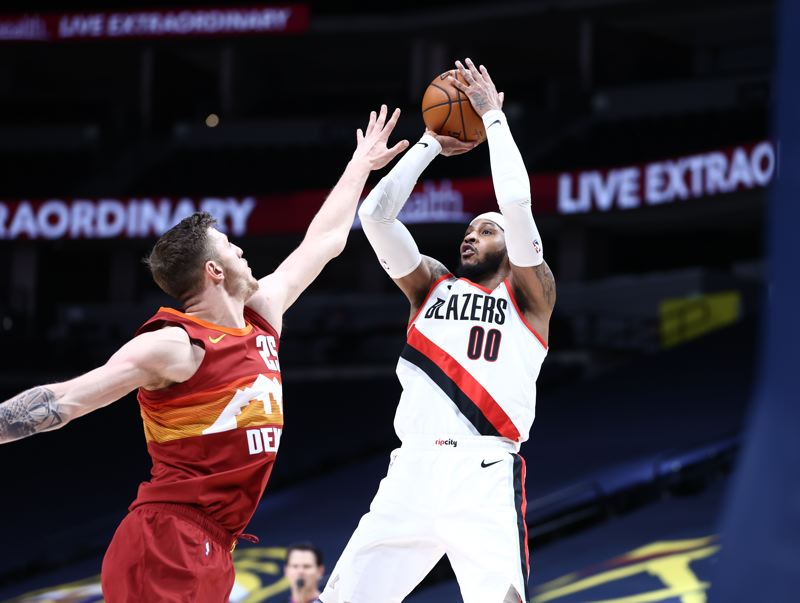 COURTESY PHOTO: BRUCE ELY/TRAIL BLAZERS - The Trail Blazers went 0-3 on their recent road trip, but Carmelo Anthony had a big game in the city where his NBA career began, Denver.