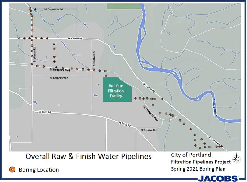COURTESY PHOTO: PORTLAND WATER BUREAU - This graphic from the water bureau shows the sites where drilling activity should be expected between March 1 to April 16.