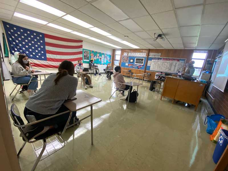 COURTESY PHOTO - La Salle Prep students listen to teacher Alex Lanaghan in one of his social studies classes.