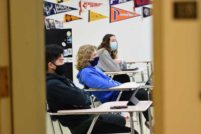 COURTESY PHOTO - Students must wear masks and sit at least 6 feet apart while they attend La Salle Prep classes.