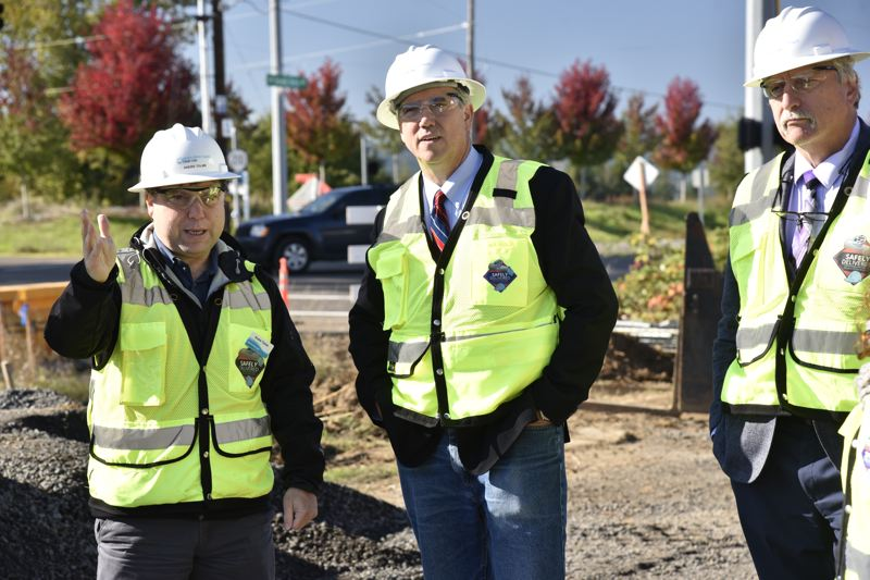 COURTESY PHOTO - U.S. Senator for Oregon Jeff Merkley, center, inspects water infrastructure paid for using federal loans in Washington County in 2019.