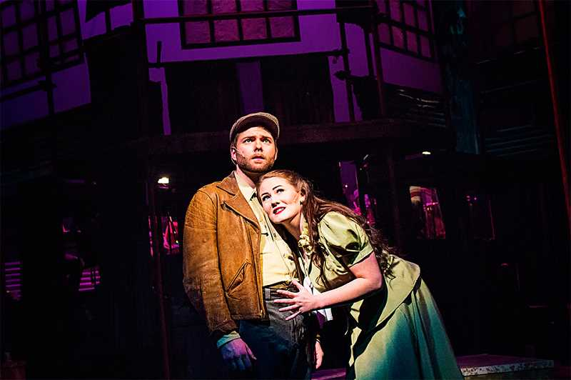 PMG FILE PHOTO: KRISTEN WOHLERS - In Clackamas Community College's 2016 production of 'Urinetown,' Sam Levi plays Bobby Strong and Madison Stevens plays Hope Cladwell. The school's theater program is at risk of being cut.