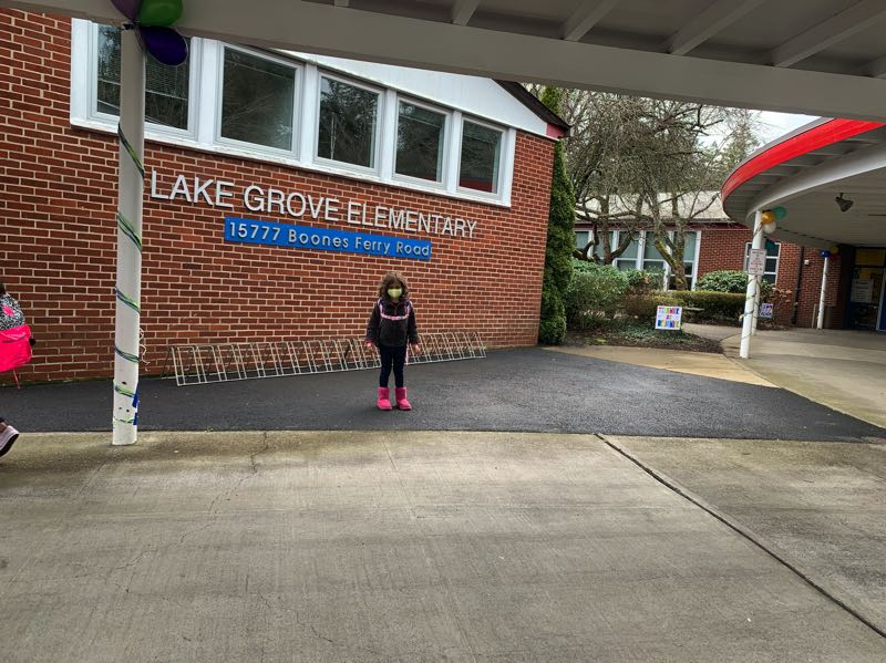 COURTESY PHOTO: SALUMEH LOESCH - Kiana Loesch attends Lake Grove Elementary in-person for the first time.