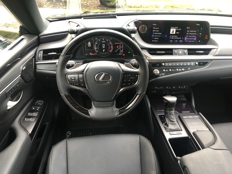 PMG PHOTO: JEFF ZURSCHMEIDE - The 2021 Lexus ES 250 AWD can be ordered with a 12.3-inch multimedia infotainment system mounted high on the dashboard so drivers don't need to take their eyes off the road.