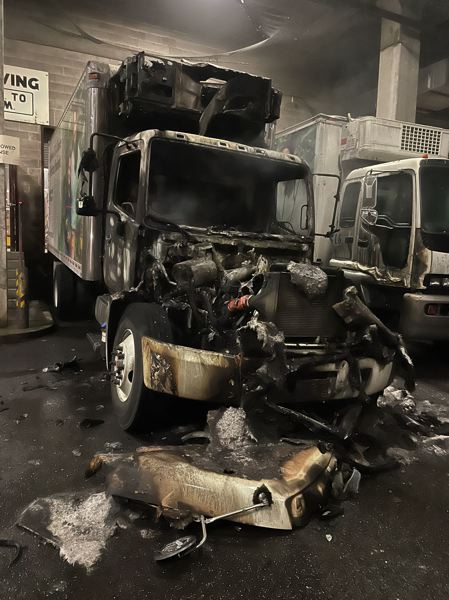 COURTESY PHOTO: GUADALUPE GUERRERO - A box truck was torched by vandals who broke into a loading dock at the Portland Public Schools administrative building on March 6.