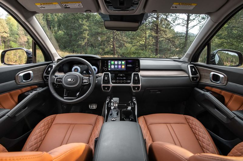 COURTESY: KIA MOTORS AMERICA - The 2021 Kia Sorento can be ordered with luxury appointments, a 12.3-inch digital dash and wood trim.
