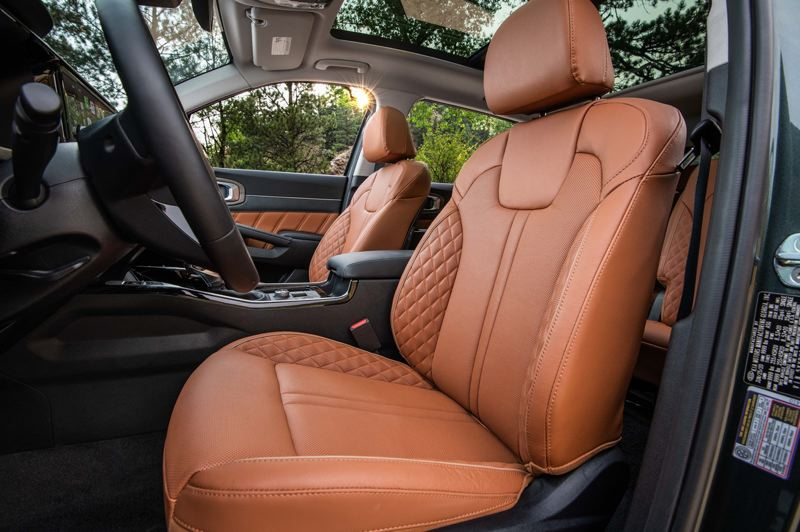 COURTESY KIA MOTORS AMERICA - The X-Line package for the 2021 Kia Sorento features special leather seat trim.