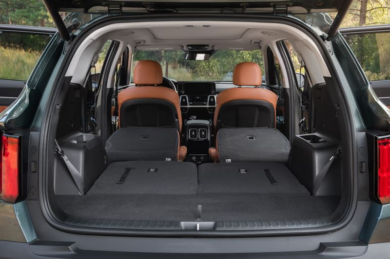 COURTESY: KIA MOTROS AMERICA - The 2021 Kia Sorento offers a tremendous amount of cargo space with the second and third rows of seats folded down.
