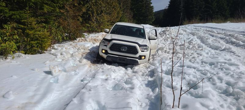 Toyota Tacoma stuck in the snow