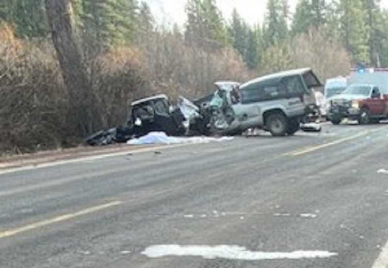 WARM SPRINGS POLICE DEPARTMENT PHOTO - Two people sustained fatal injuries in a Sunday afternoon, March 7 crash on Highway 26.