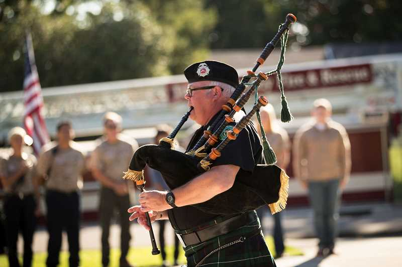 PMG FILE PHOTO: JAIME VALDEZ - Tim Birr of Tualatin Valley Fire & Rescue Pipes and Drums will be performing solo as part of an online performance on St. Patricks Day.