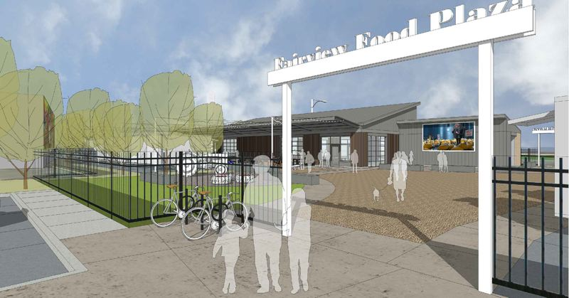 COURTESY GRAPHIC: SCOTT EDWARDS ARCHITECTURE LLP - This is a conceptual drawing of what the Fairview Food Plaza might look like once constructed.