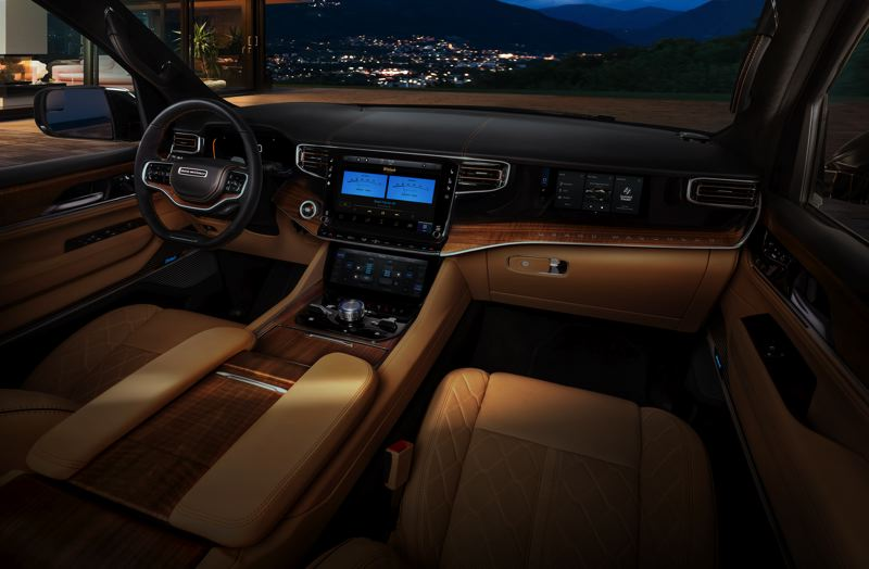 COURTESY STELLANTIS - Both the Jeep Wagoneer and more luxurious Grand Wagoneer feature a 10.1-inch or 12-inch digital display and an updated Uconnect 5 operating system.