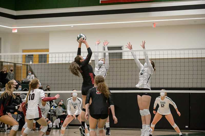 COURTESY PHOTO: CHRISTOPHER GERMANO - Tualatin's Stella Fetherston scores for Tualatin during a matchup against Tigard Tuesday.