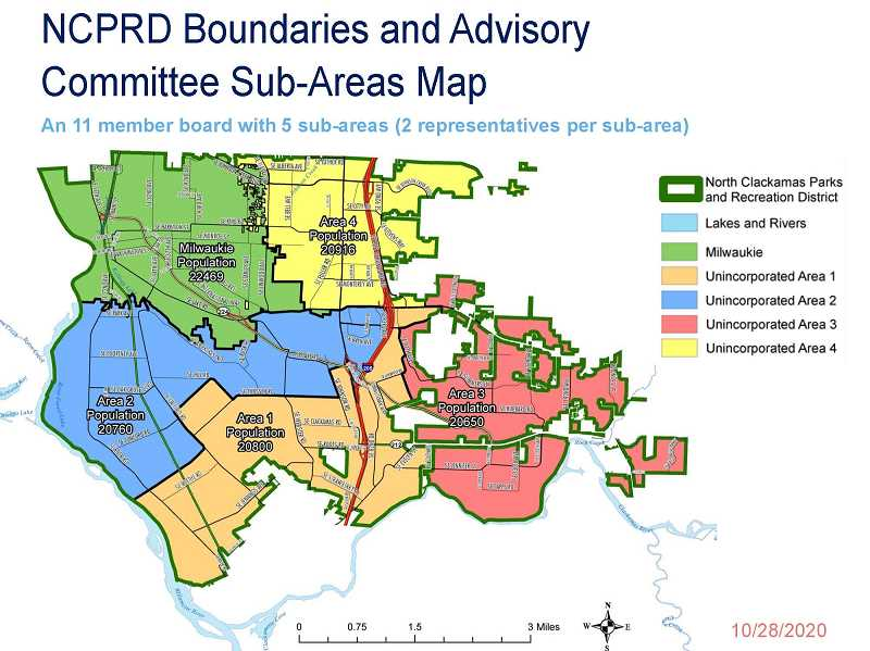 COURTESY PHOTO - Shown is a map of the proportional representation on the advisory committee for the North Clackamas Parks & Recreation District.