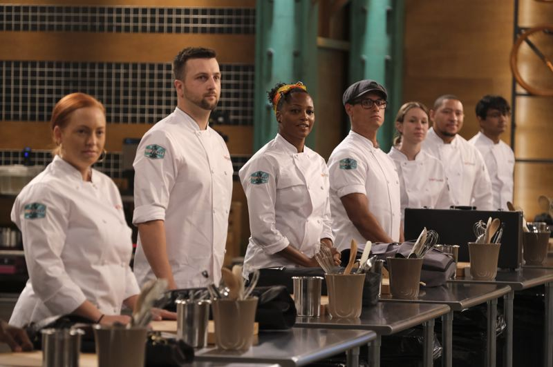 COURTESY PHOTO - Local chefs Gabriel Pascuzzi (second from left) and Sara Hauman (third from right) took part in 'Top Chef,' which was filmed in Portland. It airs starting April 1 on the Bravo network.