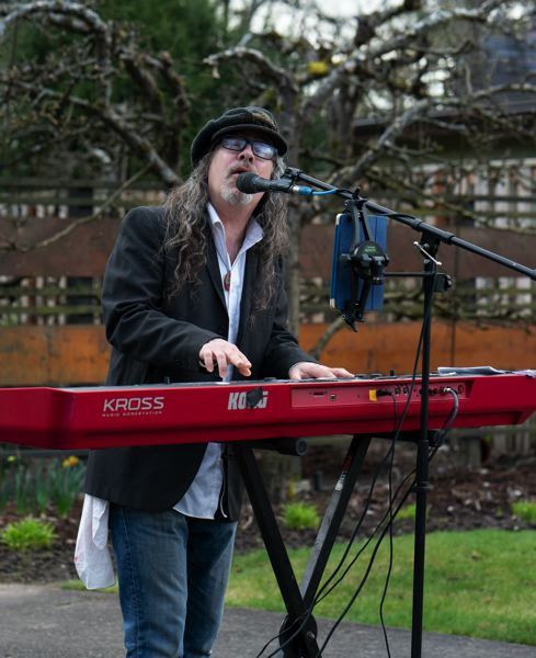 COURTESY PHOTO: NORMAN EDER - Have you seen this man playing music? Steve Kerin has performed music at various locations for the past year, and livestreamed it on Facebook Live.