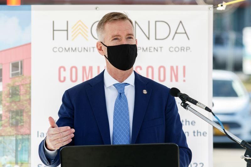 PMG PHOTO: JONATHAN HOUSE - Portland Mayor Ted Wheeler spoke at the groundbreaking ceremony for the Las Adelitas affordable housing project on Friday, March 12.