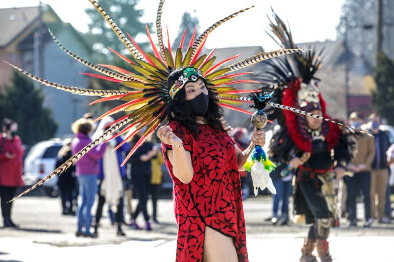 PMG PHOTO: JONATHAN HOUSE - Native American dancers performed during a groundbreaking ceremony for the Las Adelitas development in Portland on March 12.