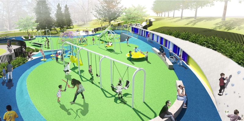 COURTESY PHOTO - Here's a rendering of the new Gabriel Park inclusive playground.