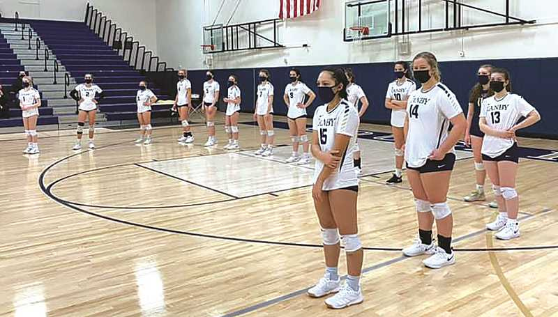 COURTESY PHOTO - The Canby High volleyball team gets ready for their match against Lake Oswego on Friday.