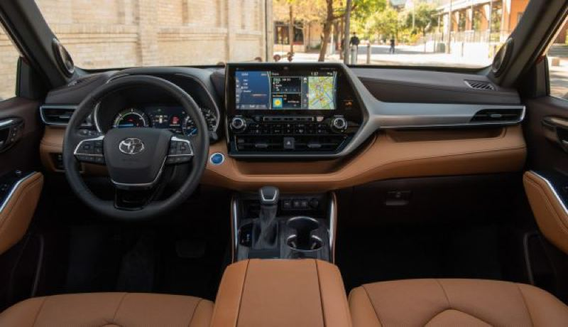 COURTESY TOYOTA - In the cabin, the Highlander Hybrid offers a range of interiors from pretty good up to luxury with a huge display screen and practically every available automotive technology.
