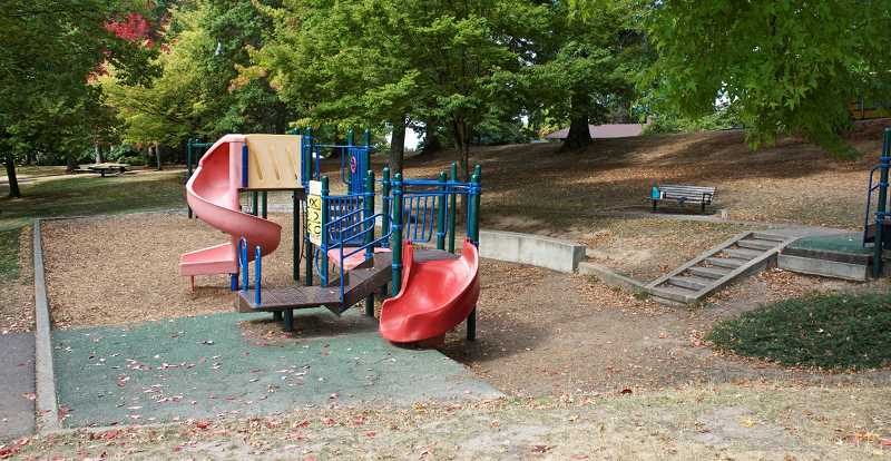 COURTESY PHOTO: PORTLAND PARKS & RECREATION - A photo of the playground at Gabriel Park slated to be replaced with all new play equipment accessible to all users.