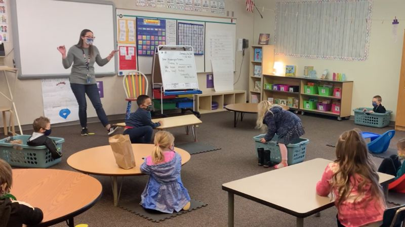 COURTESY PHOTO: ESTACADA SCHOOL DISTRICT - Elementary school students learn in the classroom while remaining six feet apart.