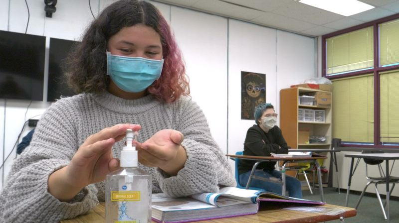 COURTESY PHOTO: ESTACADA SCHOOL DISTRICT - Safety precautions such as hand sanitizer and face masks have been an important element of Estacada students returning to the classroom.