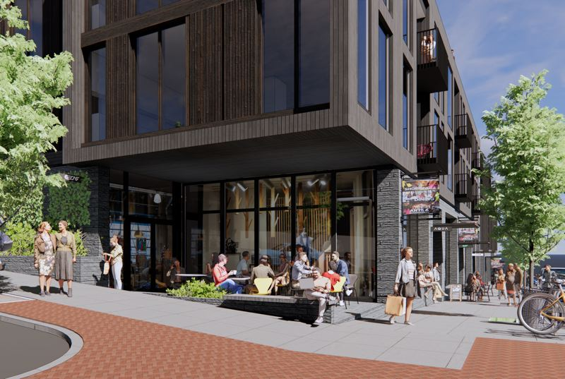 COURTESY RENDERING: HACKER ARCHITECTS - The plaza on the southwest corner of the residential project will likely provide outdoor seating and open space.