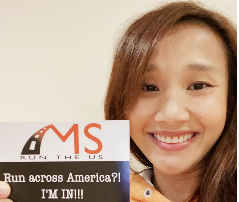 COURTESY PHOTO: HIEN WANG - Hien Wang was all smiles when she received word that she would be one of 19 runners participating in the 2021 MS Run the US ultramarathon relay.