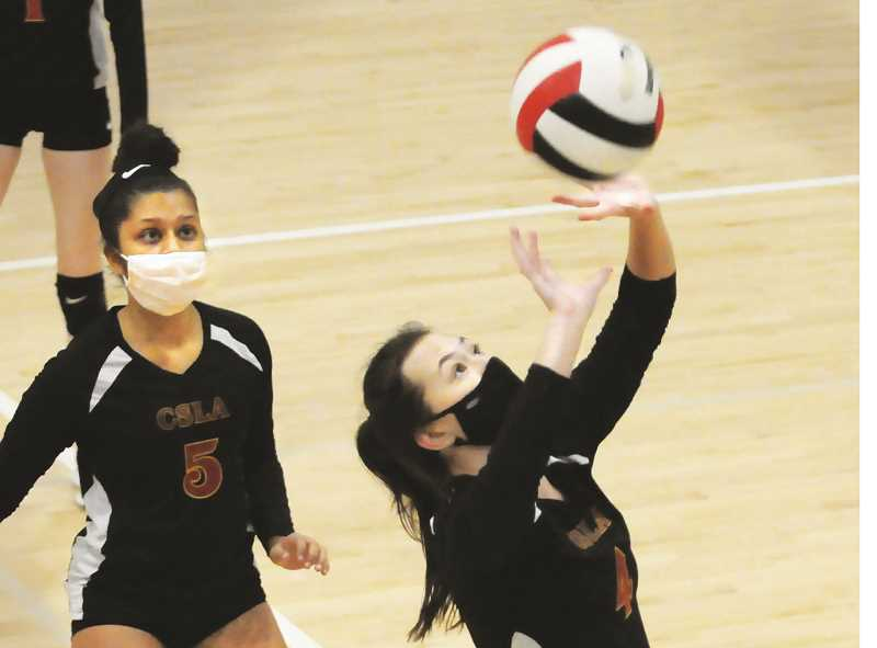 PMG PHOTO: GARY ALLEN - The C.S. Lewis volleyball team split two games over the span of a week, bringing its record to 2-3 overall in a shortened season.