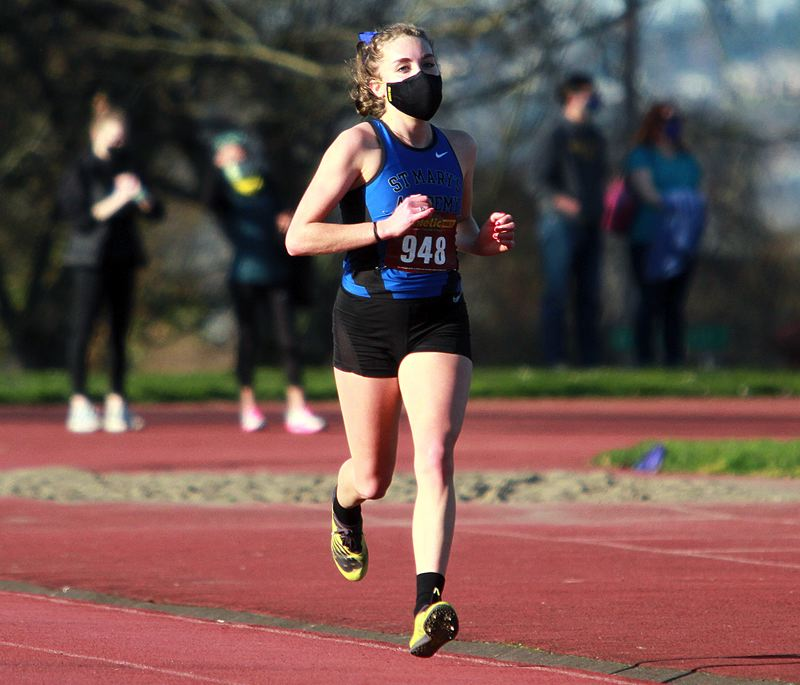 PMG PHOTO: MILES VANCE - Fiona Lenth of St. Mary's Academy has been an early frontrunner in Oregon cross country.