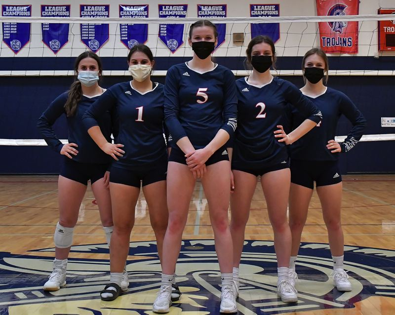 COURTESY PHOTO: ANDRE PANSE - Kennedy seniors (from left) Hailey Arritola, Kelsey Kleinschmit, Emma Beyer, Ellie Cantu and Elise Suing are excited for the opportunity to finish their high school volleyball careers on the court.