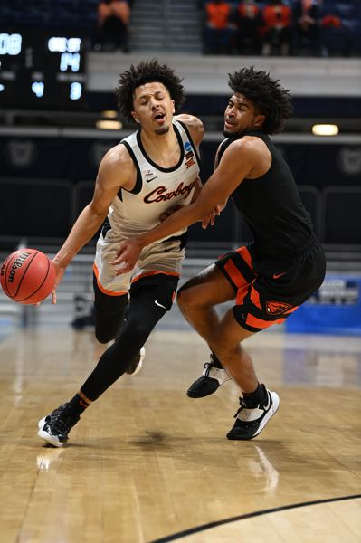 COURTESY PHOTO: NCAA PHOTOS - Oregon State's Ethan Thompson was every bit the equal of NBA prospect Cade Cunningham in the Beavers' win. In fact, he played better.