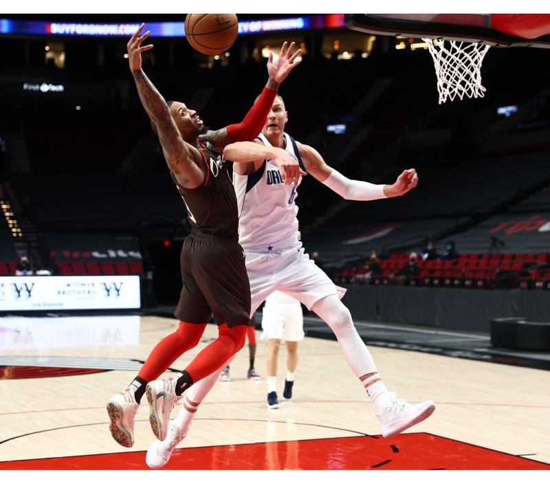 COURTESY PHOTO: BRUCE ELY/TRAIL BLAZERS - It was a tough night for Damian Lillard and the Trail Blazers, who lost by 40 points to Dallas.