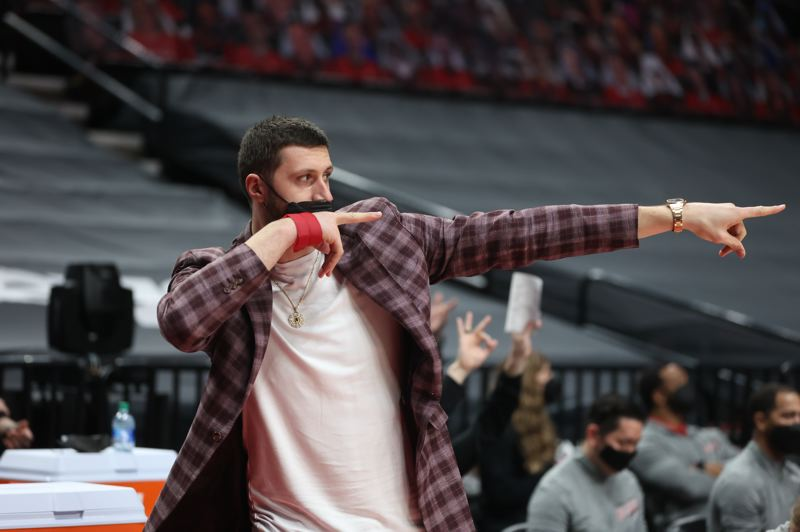 COURTESY PHOTO: BRUCE ELY/TRAIL BLAZERS - The Trail Blazers await the return of Jusuf Nurkic, who serves as pretty animated cheerleader when sitting on the bench.
