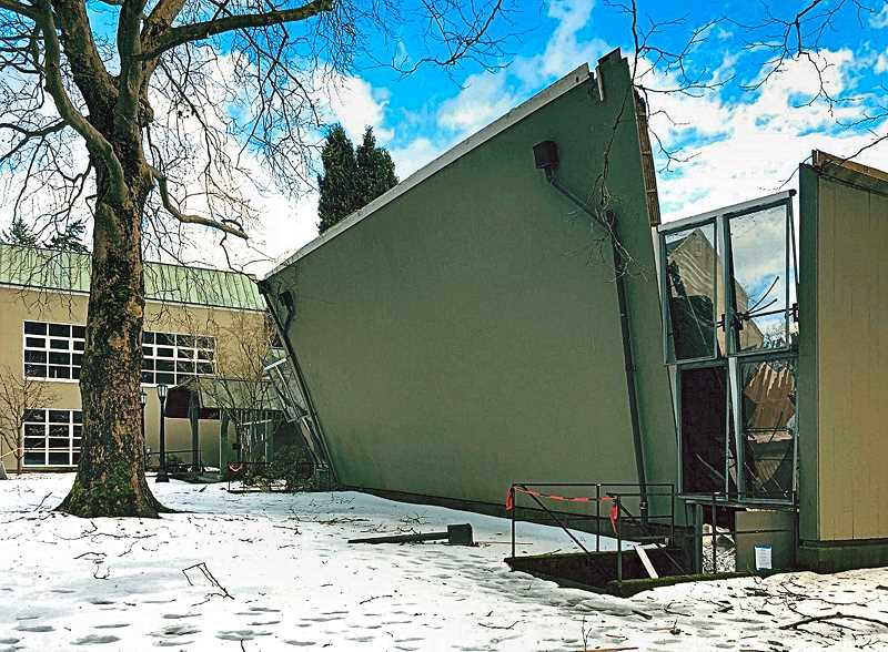 COURTESY OF GARY GRANGER & REED COLLEGE - As the roof fell in on Reed Colleges Gym I and Gym II, the side walls buckled under the strain.