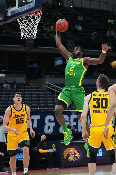 COURTESY PHOTO: NCAA PHOTOS - Eugene Omoruyi soars in for a dunk in the Oregon Ducks' big win against Iowa.