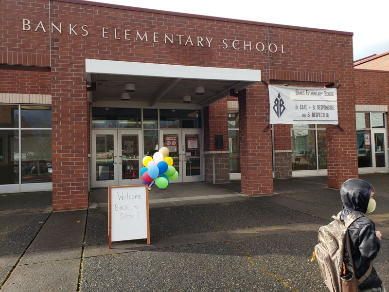 PMG FILE PHOTO - Students returned to Banks Elementary School Monday, March 8. The rules on how schools may reopen have been changing rapidly, catching families and educations by surprise.