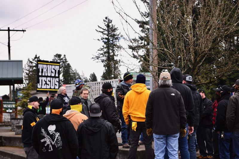 PMG PHOTO: BRITTANY ALLEN - Several Proud Boys came from out of town to allegedly protect Collier's rally on March 20.