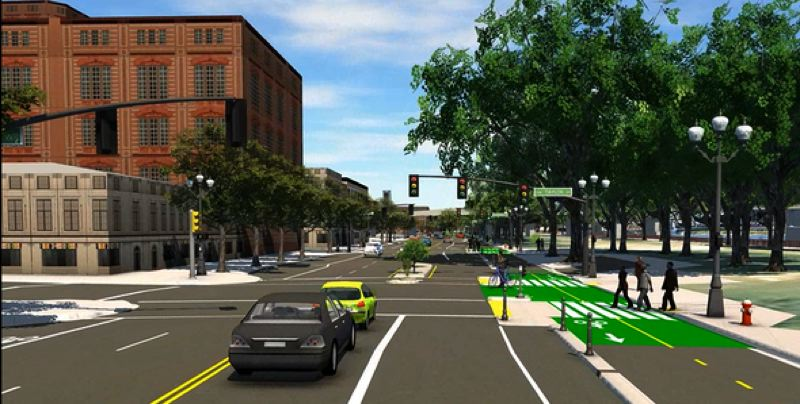 COURTESY IMAGE: TIMUR ENDER, PBOT - A digital illustration of the future Better Naito Forever project looking north at Southwest Harvey Milk Street. The project is funded primarily by Fixing Our Streets.