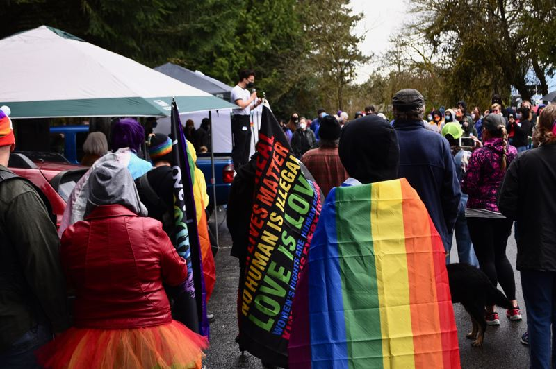 PMG PHOTO: BRITTANY ALLEN - Josiah Rothwell of SAFE speaks to the crowd at Have a Gay Day event on March 20.