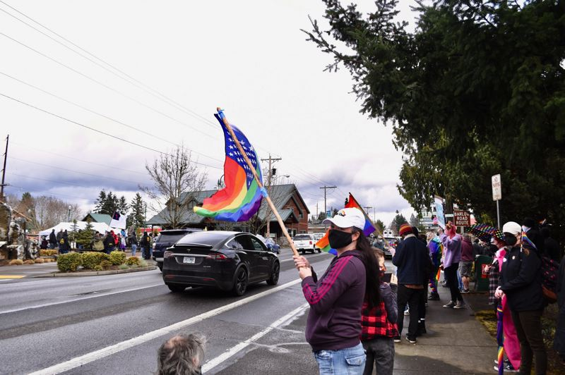 PMG PHOTO: BRITTANY ALLEN - Shawna Peterson of Sandy says she attended the Have a Gay Day event to show support for her 11-year-old son Graham, who is gay. 'It's important to show there are other people in the community who support him, she said.'