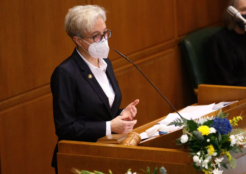 PMG FILE PHOTO - House Speaker Tina Kotek of Portland has shut down activity in the Capitol after a person tested postive for COVID-19.