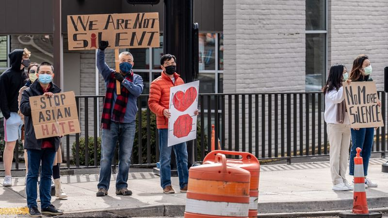 COURTESY PHOTO - Community members gather at three separate locations to support the Asian community Sunday, March 21.