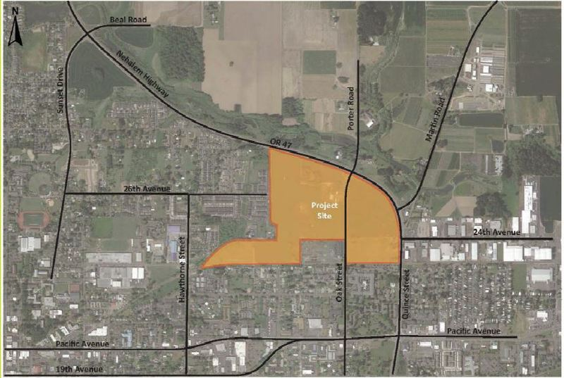 COURTESY PHOTO: CITY OF FOREST GROVE - The Oak Street Area Land Use Refinement project area's extent highlighted in orange.